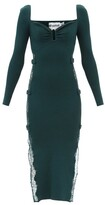 Thumbnail for your product : Self-Portrait Sweetheart Lace-insert Rib-knitted Midi Dress - Dark Green