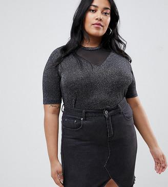 Junarose metallic v neck t-shirt-Black