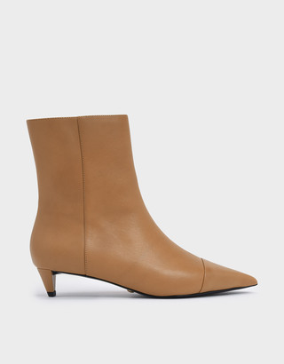 Charles & Keith Kitten Cone Heel Leather Ankle Boots