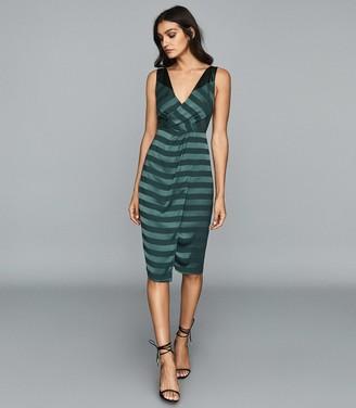 Reiss Pia - Striped Wrap-front Dress in Green
