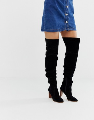 ASOS DESIGN Kentucky premium suede slouch thigh high boots in black