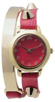Geneva Platinum Women's Stud Accent Simulated Leather and Metal Wrap Watch - Pink
