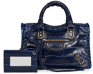 Balenciaga Small City Croc-Embossed Leather Satchel