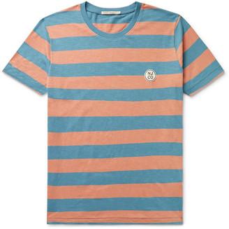 Nudie Jeans Roy Logo-Appliqued Striped Slub Cotton-Jersey T-Shirt