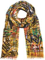 Burberry Graffiti Print Vintage Check Wool Silk Scarf