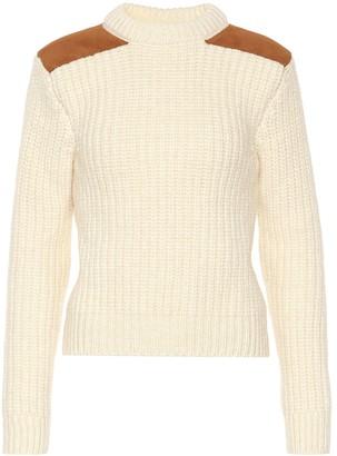 Saint Laurent Suede-trimmed wool-blend sweater