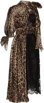 Dolce & Gabbana Paneled Lace Leopard Midi Dress