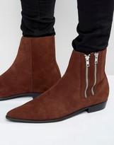 Religion Pistol Double Zip Suede Boots