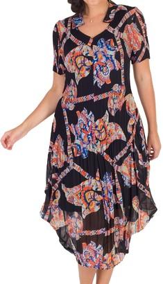 Chesca Abstract Print Crush Pleat Notch Neck Dress, Black/Orange