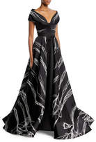 Rubin Singer Bateau-Neck Scribble-Print High-Low Tulip Evening Gown
