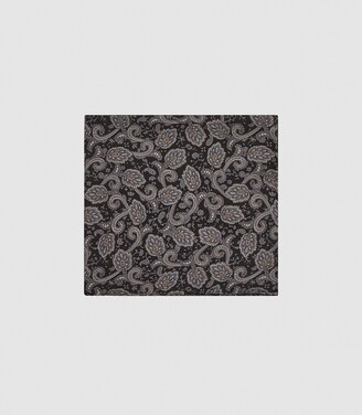 Reiss Amalfi - Silk Paisley Pocket Square in Charcoal