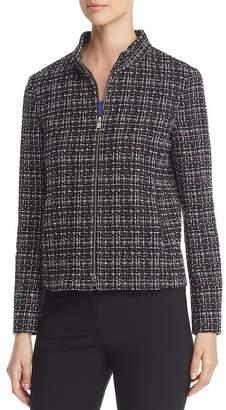 BOSS Jelinita Textured-Plaid Zip Jacket
