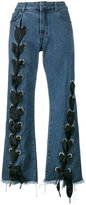 Marques Almeida Marques'almeida - lace-up wide-leg jeans - women - Cotton - 4