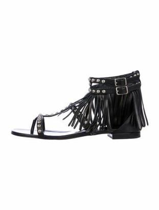 Saint Laurent Leather Beaded Accents Sandals Black