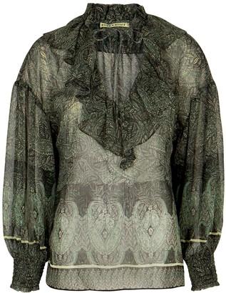 Alice + Olivia Julius green printed georgette blouse