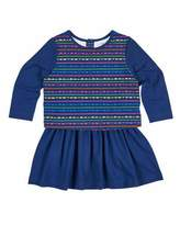 Florence Eiseman Scallop Stripe-Print Dress w/ Solid Skirt, Size 2-6X