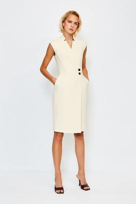 Karen Millen Collar Wrap Popper Dress