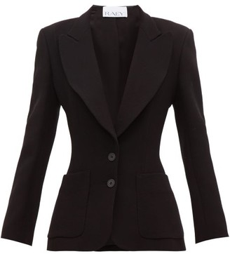 Raey Wide-lapel Fitted Wool-crepe Blazer - Womens - Black
