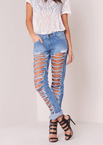 Missy Empire Stina Distressed Denim Skinny Jeans