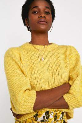 Urban Outfitters Balloon Half-Sleeve Jumper - yellow XS at