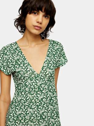 Topshop Ditsy Chuckon Midi Dress - Green