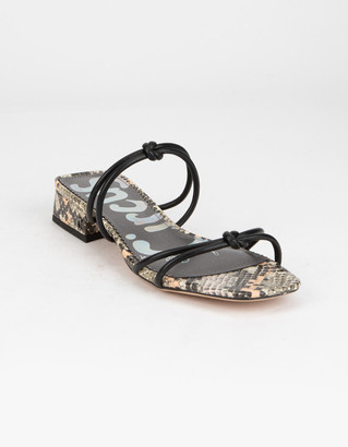 Sam Edelman Jay Womens Black & Snake Print Sandals
