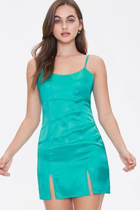 Forever 21 Satin M-Slit Mini Dress