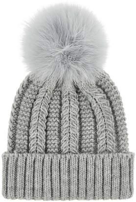Accessorize Luxe Pom Beanie Hat - Grey