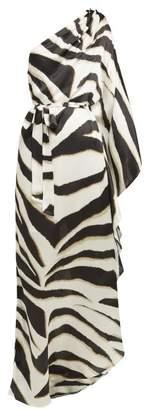 Melissa Odabash Lauren Asymmetric Zebra-striped Crepe Maxi Dress - Womens - Black White