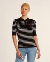 Scotch & Soda Black & White Striped Short Sleeve Polo