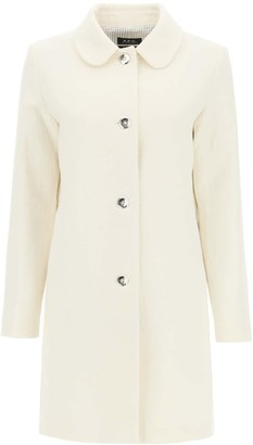 A.P.C. POUPEE SHORT COAT 34 White Cotton, Wool