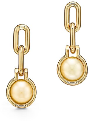 Tiffany & Co. City HardWear South Sea golden pearl link earrings in 18k gold
