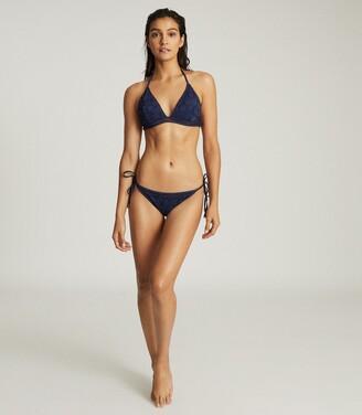 Reiss Mia - Broderie Detail Bikini Briefs in Navy