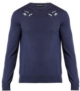 Alexander Mcqueen Hummingbird-embroidered Wool Sweater