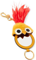 Miu Miu Leather, Shearling And Feather Keychain - Orange