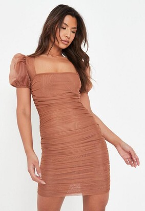 Missguided Taupe Mesh Ruched Puff Sleeve Mini Dress