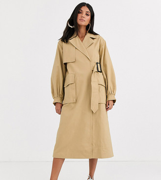 Asos DESIGN Tall clean utility trench coat in cream