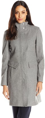 Kenneth Cole New York Kenneth Cole Women's Zip-Front Wool-Blend Coat with Pockets
