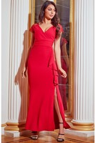 Sistaglam BELMAIN LACE SLEEVE FRILL SIDE SLIT RED DRESS