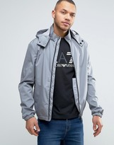 Armani Jeans Rain Jacket Detachable Hood In Grey