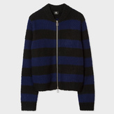 Paul Smith Women's Black And Navy Striped Wool-Blend Zip-Cardigan