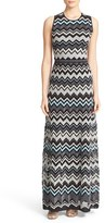 M Missoni Women's Metallic Zigzag Cross Back Maxi Dress