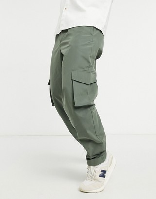 ASOS DESIGN balloon fit cargo trousers in khaki