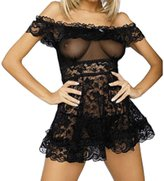 Rokou Sexy Lingerie Strapless Transparent Lace Mini Dress Sleepwear with G-String