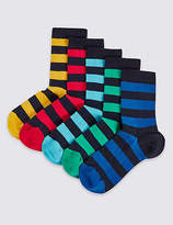 Marks and Spencer 5 Pairs of FreshfeetTM Cotton Rich Rugby Stripe Socks (1-14 Years)