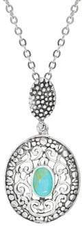 Lord & Taylor Sterling Silver & Turquoise Pendant Necklace