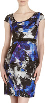 Carmen Marc Valvo Beaded Waist Print Silk Dress