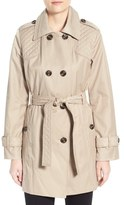London Fog Quilt Detail Double Breasted Trench Coat