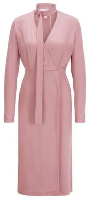 HUGO BOSS Long Sleeved Twill Dress With Detachable Bow Tie Detail - light pink