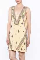 Free People Yellow Embroidered Sleeveless Dress
